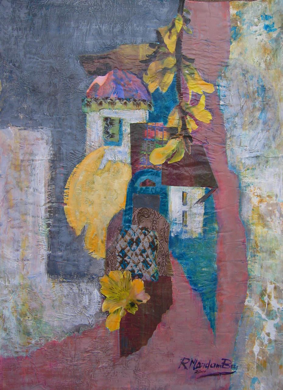 """Sun village"";Acryl Collage auf papier;50 x 70 cm"
