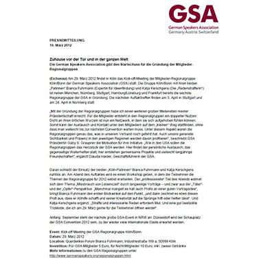 Pressemeldung GSA Regionalgruppe Köln/Bonn