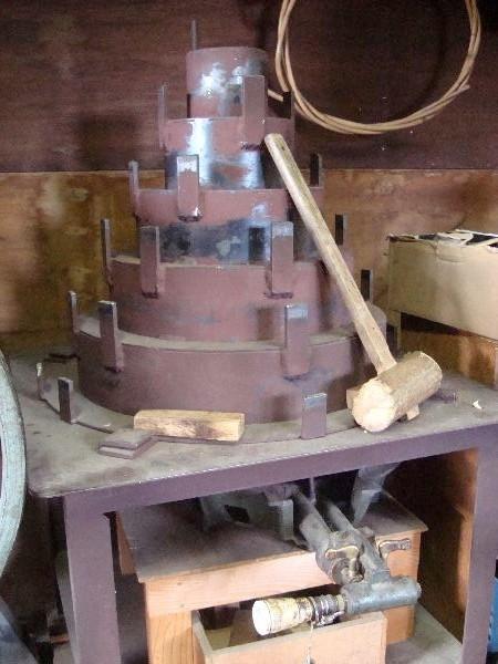 竹を曲げるための道具です。下から熱して熱くなったところに竹をあてて木でおさえます。