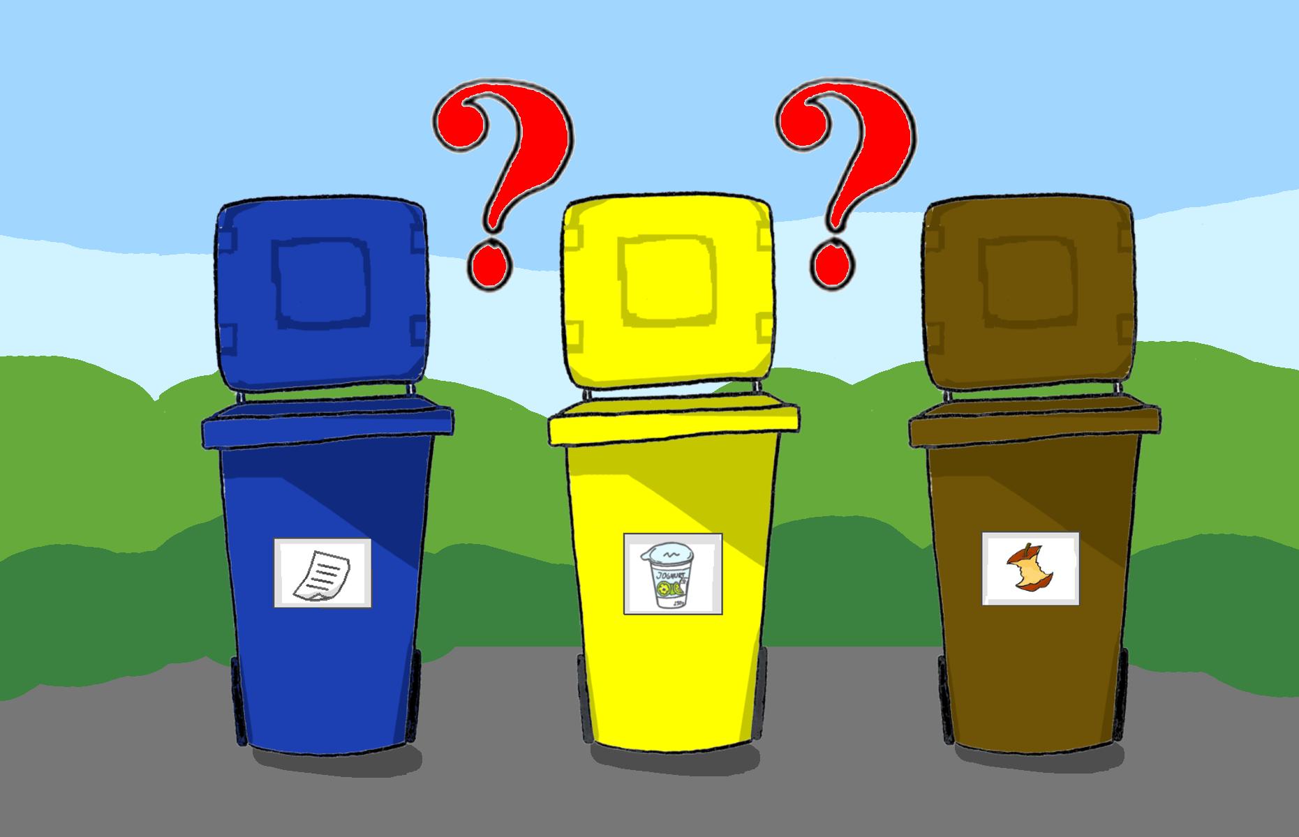 9. Abfall will gelernt sein: Neben Abfallvermeidung haben einheitliche Abfalltrennsysteme für jeden Raum Sinn. Wenn etwas wegkommt, können die Kinder mit überlegen, welche Tonne die richtige ist. Bilder auf den Tonnen helfen beim Sortieren.