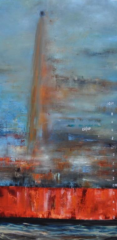 Wasserspuren, 200 cm x 70 cm, Öl auf Leinwand, 2012