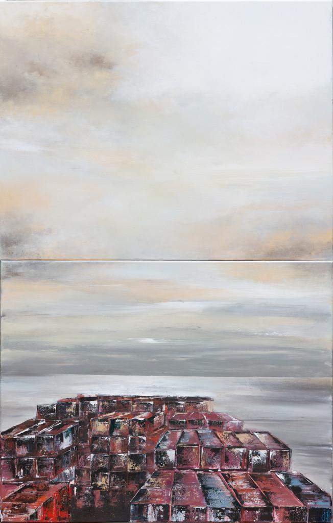 Wo fängt der Himmel an, 2 x 70 cm x 90 cm, Acryl auf Leinwan, 2013