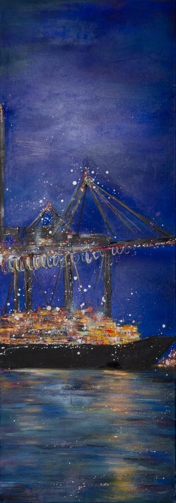 Blaue Stunde III, 200 cm x 50 cm, Öl auf Leinwand, 2012