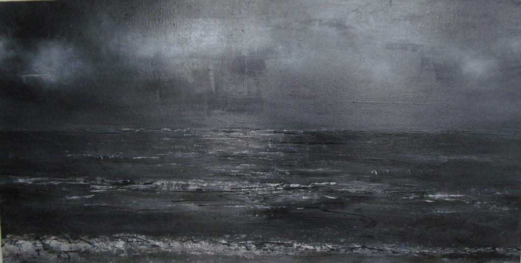 Meer s/w 50 cm x 100 cm Öl auf Leinwand 2007