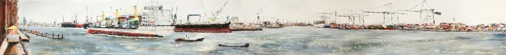 Hafenklang II, 250 cm x 28 cm, Öl auf Leinwand, 2010 VERK.
