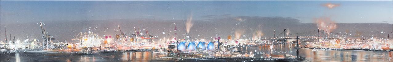 HH-View, 300 cm x 50 cm, Öl und Photographie auf Leinwand, 2012