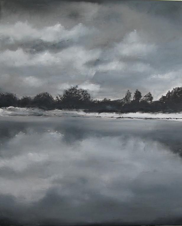 Wolken im Spiegel 120 cm x 100 cm Öl auf Leinwand 2007