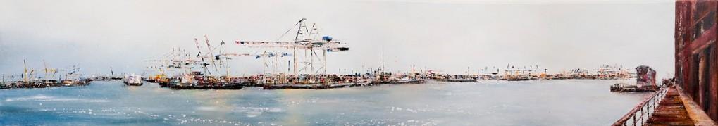 Hafenklang I, 2oo x 25 cm Öl auf Leinwand,2010