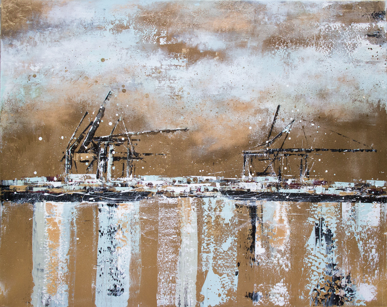 Gold II, 60 cm x 80 cm, Goldlack und Acryl auf Leinwand, 2013