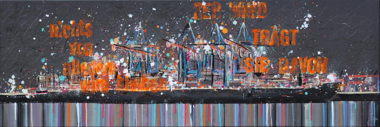 Der Wind trägt uns davon, 180 cm x 60 cm, Öl und Photographie auf Leinwand, 2012