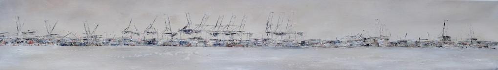 Hafenstille, 200 cm x 30 cm, Öl auf Leinwand, 2011