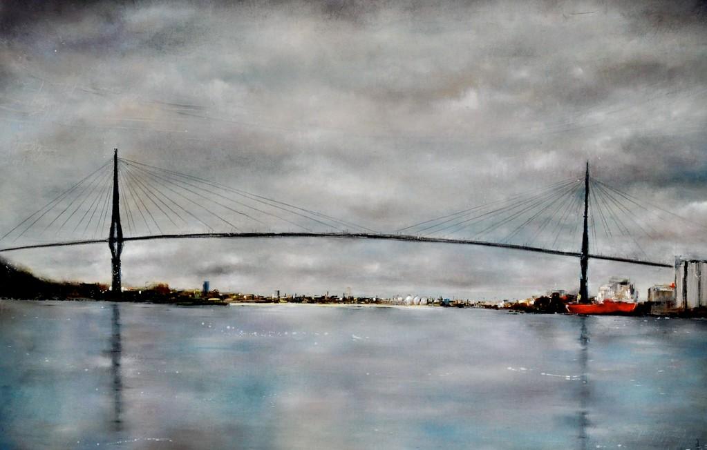 Köhlbrandbrücke II, 160 cm x 120 cm, Öl auf Leinwand, 2012