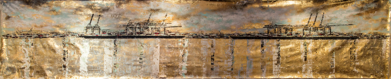 6 Meter Hafen auf Blattgold, 600 cm x 120 cm, Blattgold und Acryl auf Leinwand- Tagstimmung