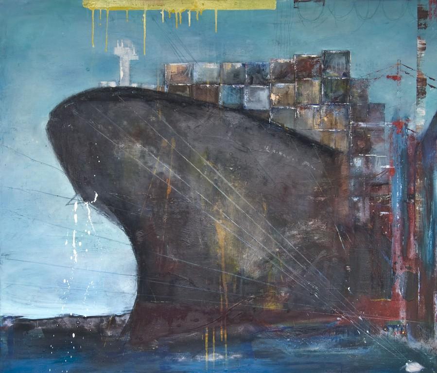 Containerschiff, 120 x 140 cm Öl auf Leinwand, 2009