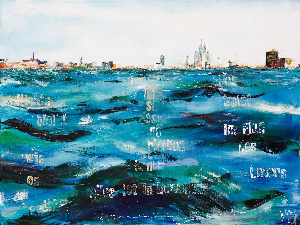 Im Fluß des Lebens, 160 cm x 140 cm, Öl auf Leinwand, 2012