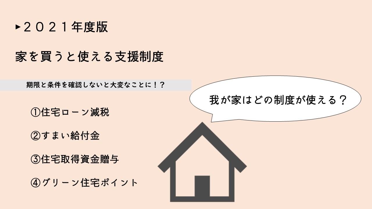 2021年版!家を買うと使える支援制度4つを紹介!