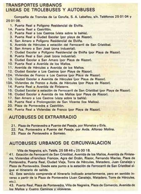 AQUI LAS LINEAS DE AMBAS COMPAÑIAS DE AUTOBUSES URBANOS DE LA CORUÑA QUE CIRCULARON ENTRE 1.965 Y 1.979,NO SE POR QUE LA LINEA 44 NO LA PONEN COMO CRCUNVALACION SI SUPUESTAMENTE LA HACIAN LOS BUSES DE LA COMPAÑIA DE AUTOBUSES URBANOS Y NO LOS DE TRANVIAS.