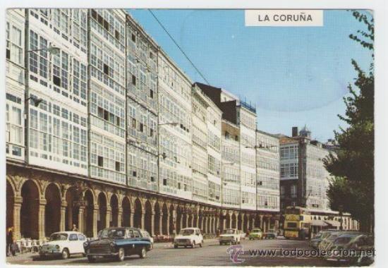 TAXI AUSTIN Y TROLEBUS BUT DE 2 PISOS EN LA AVENIDA DE LA MARINA EN LOS AÑOS 60.