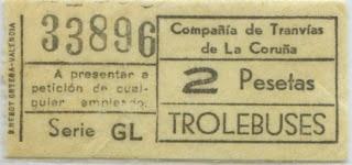 BILLETE DE TROLEBUS DE LA CORUÑA