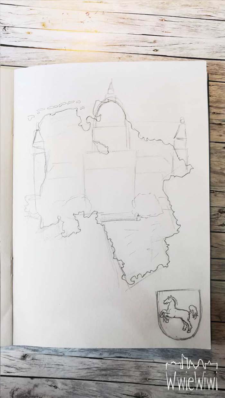 Anschließend wird das Bundesland feiner ausgearbeitet und eine grobe Skizze von dem Gebäude eingearbeitet. Auch hier kann ich das Gebäude noch recht einfach versetzen, falls die Position nicht stimmt. Ebenfalls wurde das Wappen detailliert vorgezeichnet.