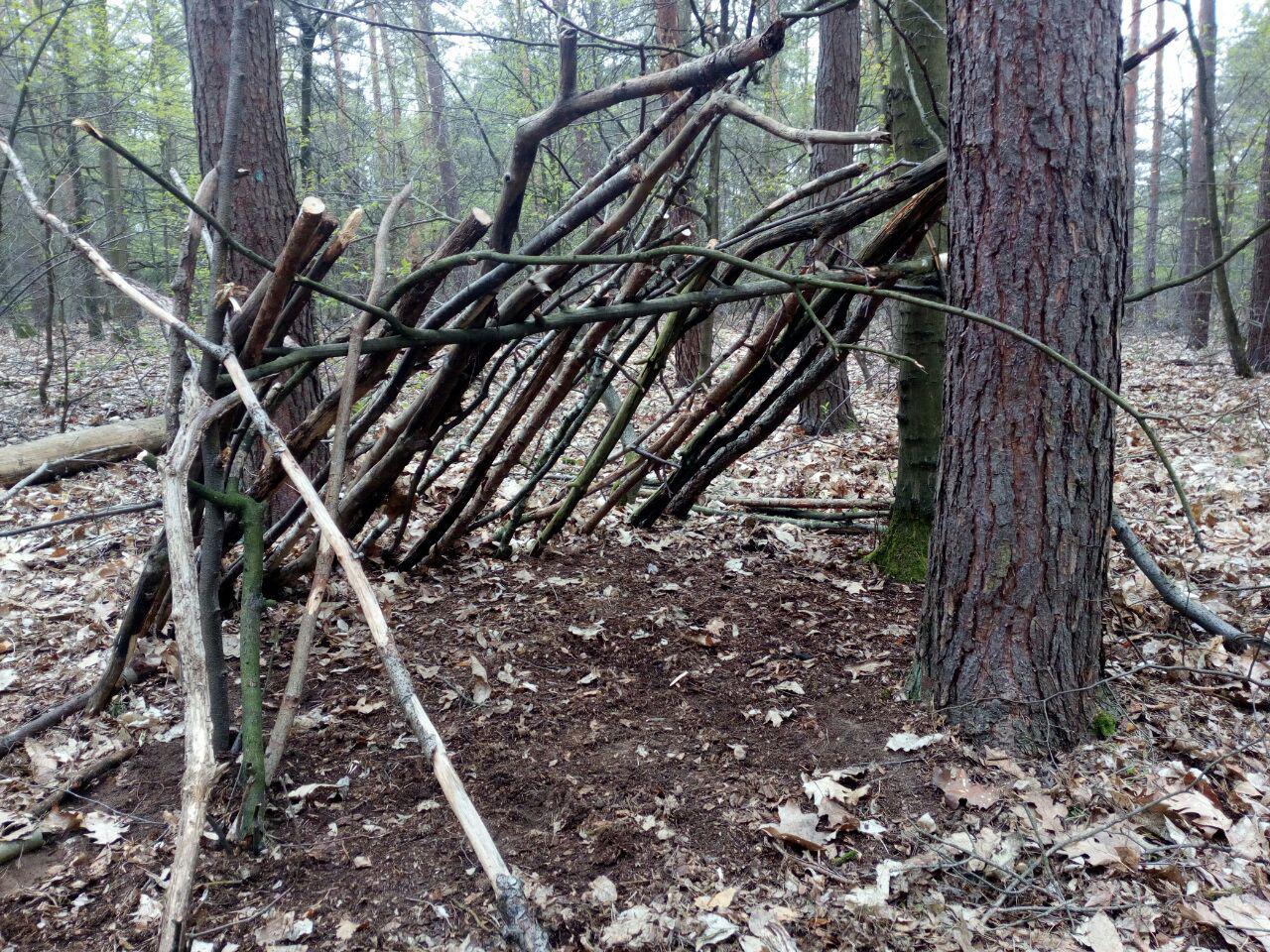 Vorbildliche Konstruktion für einen Schrägdach-Shelter aus Naturmaterial.