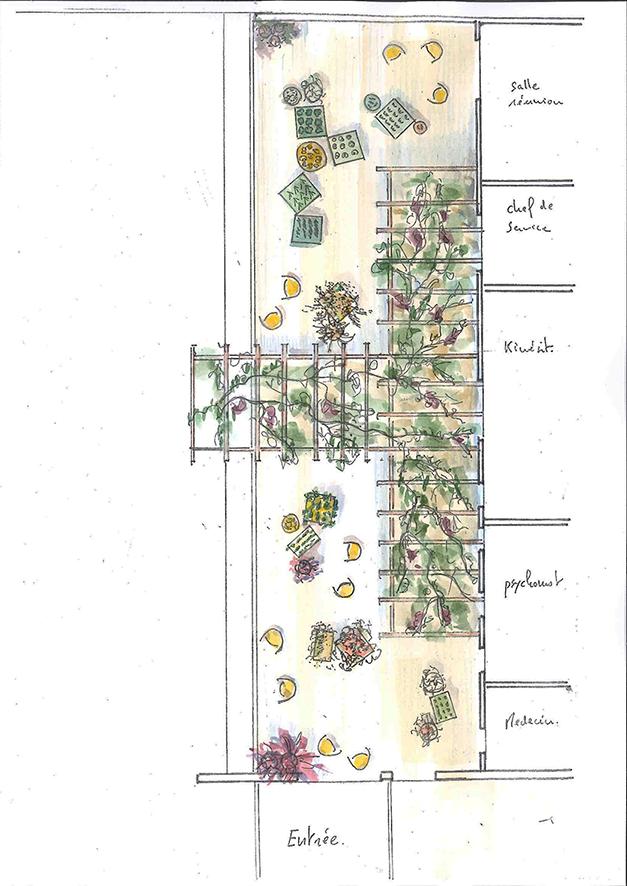 Plan masse de la terrasse d'activités pour les patients et leurs familles