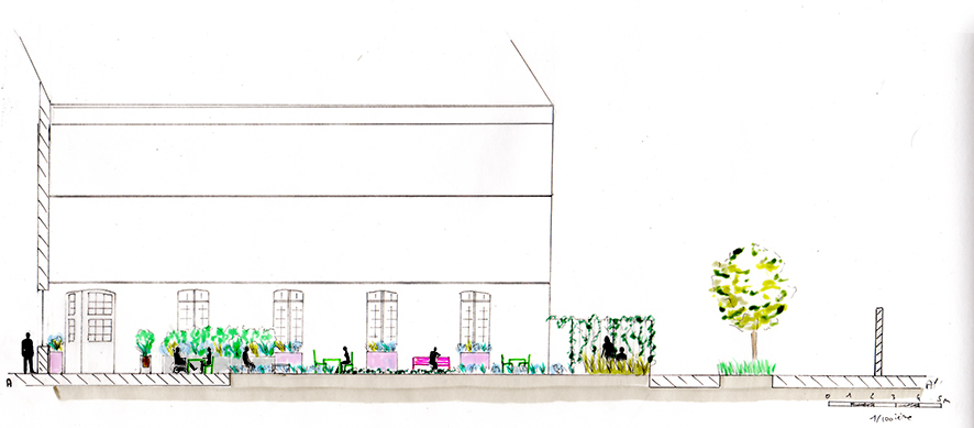 Avant-projet - Coupe sur la terrasse ensoleillée