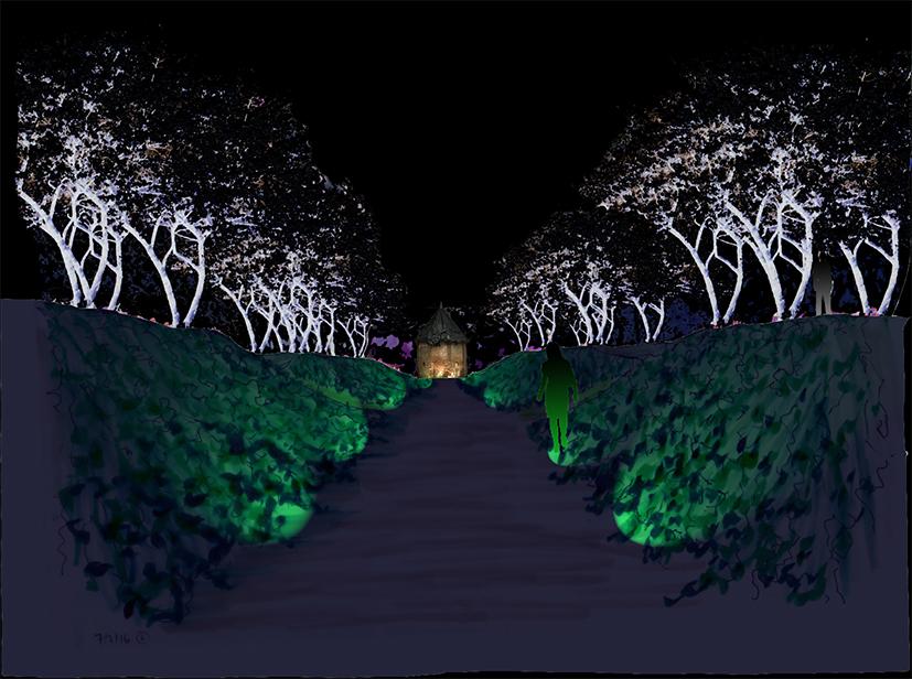 Avant-projet - Vue de nuit sur le chemin creux