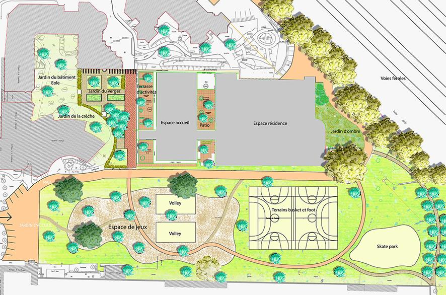 Plan masse du projet proposé pour l'EHPAD