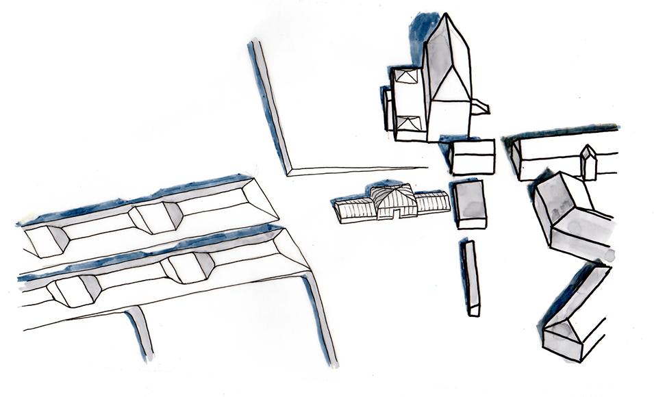 Avant-projet - Axonométrie illustrant les circulations autour du château et de la serre