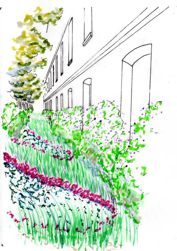 Avant-projet - Dessin d'ambiance des futures 'rives du jardin'