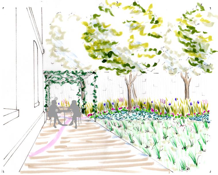 Avant-projet - Pergola prévue le long du bâtiment pour le repos des patients et de leurs familles