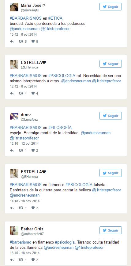 #Barbarismos, actividad en TWITTER