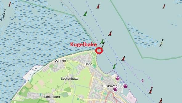 Die Lage der Kugelbake in Cuxhaven Döse