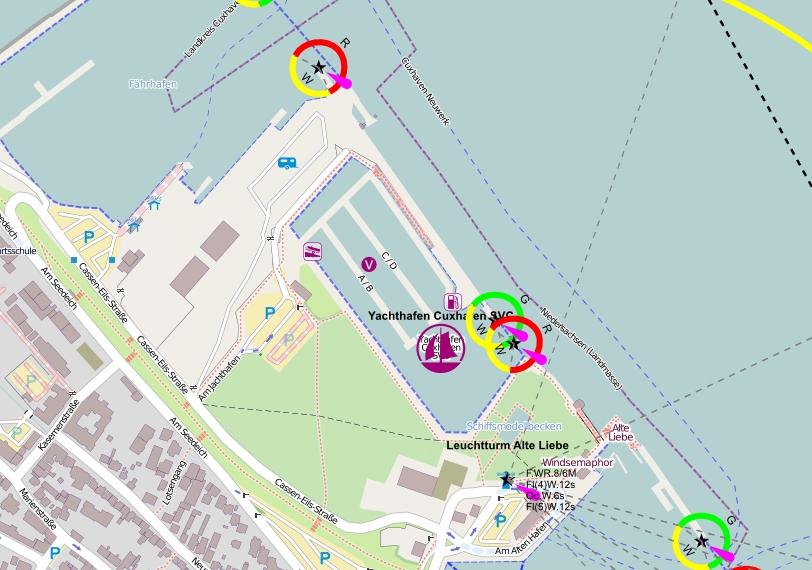 Die Lage des Yachthafens der Seglervereinigung Cuxhaven SVC