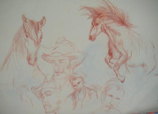 etude à la sanguine, chevaux camarguais