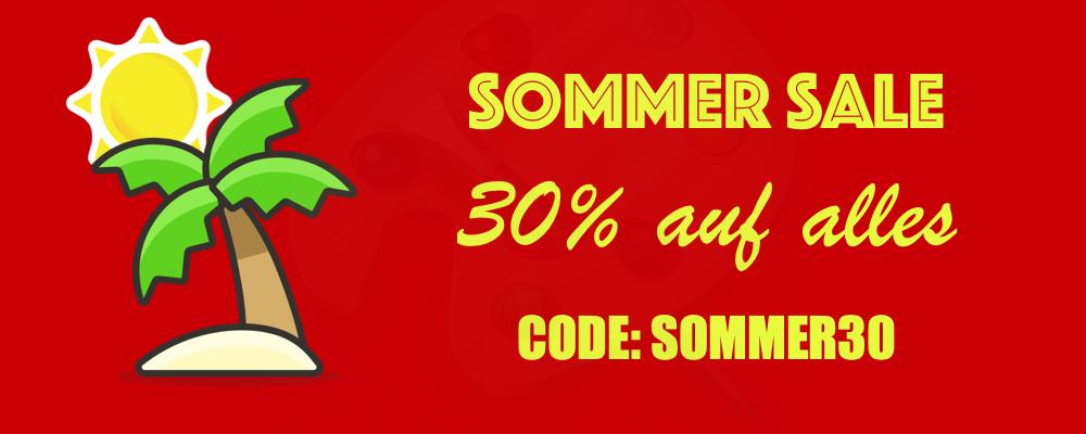 """30% auf alle Artikel in unserem Online Shop. Der Mindestbestellwert beträgt 100€. Einlösbar mit dem Gutscheincode """"SOMMER30""""."""