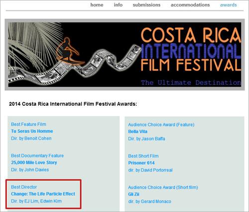 コスタリカ国際映画祭で最優秀監督賞を受賞!