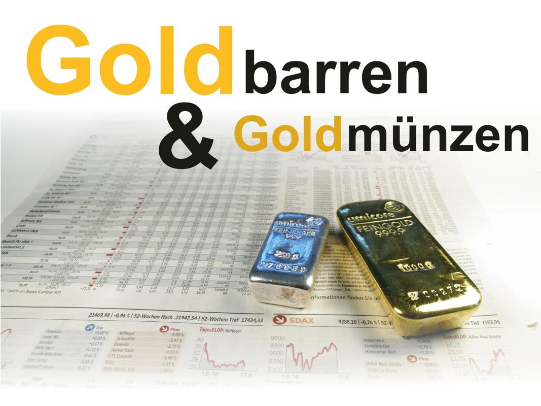 Goldbarren, Silberbarren sowie Goldmünzen & Silbermünzen