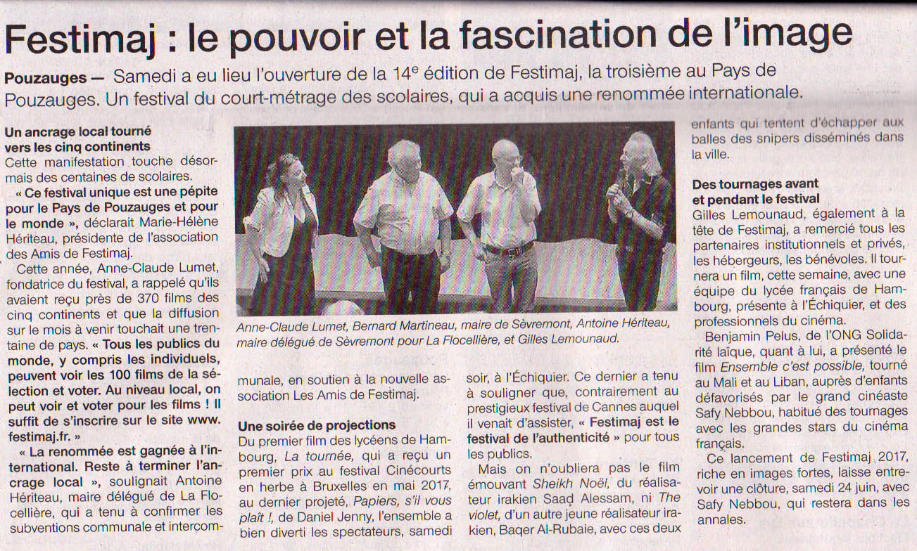 Article Ouest-France ouverture Festimaj Pouzauges