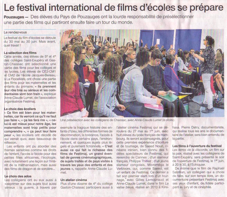 Ouest-France Le 28 et 29 Avril 2018  Le festival de films d'école se prépare
