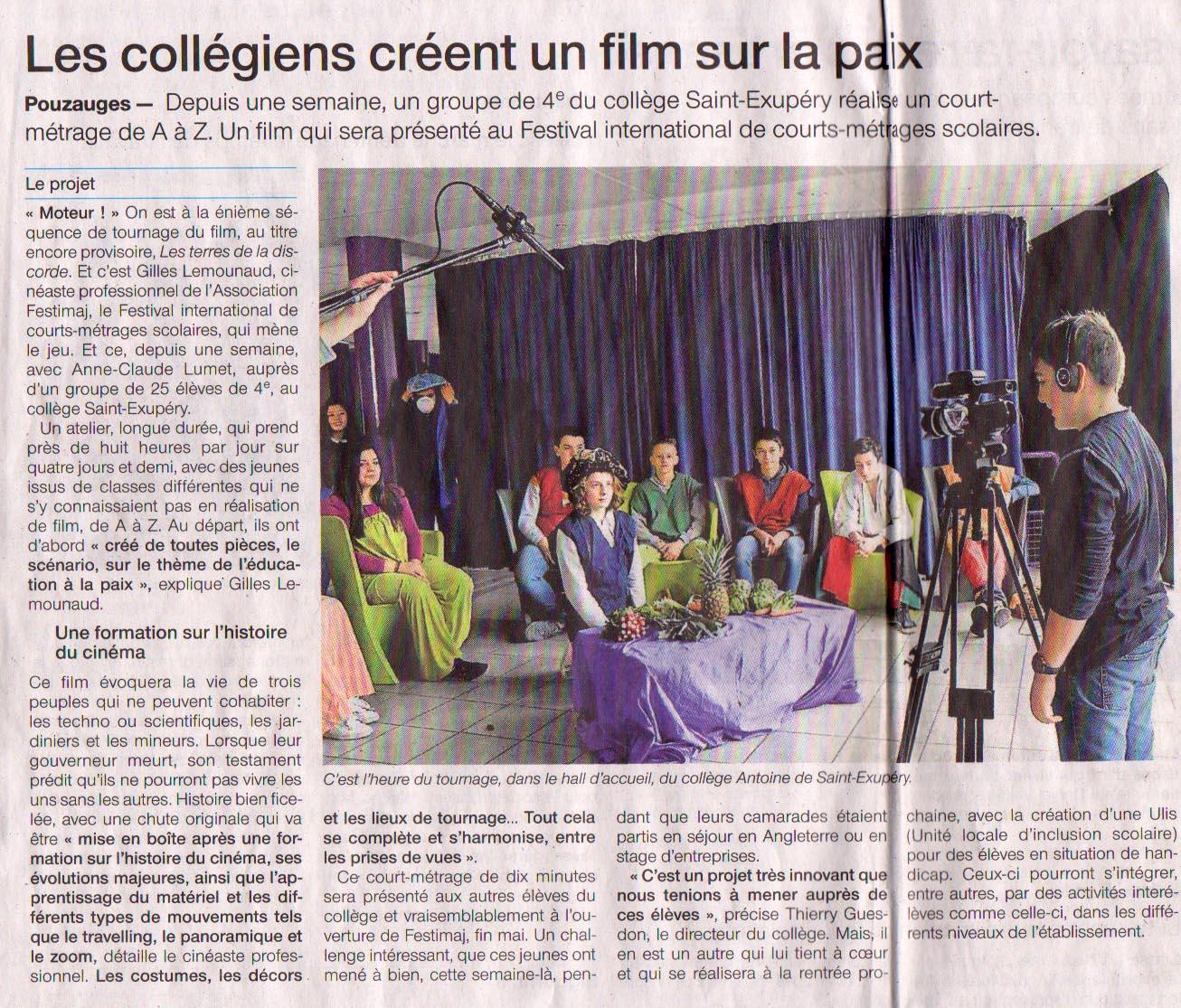 Ouest-France Le 9 Avril 2018 Les collégiens créent un films sur la paix