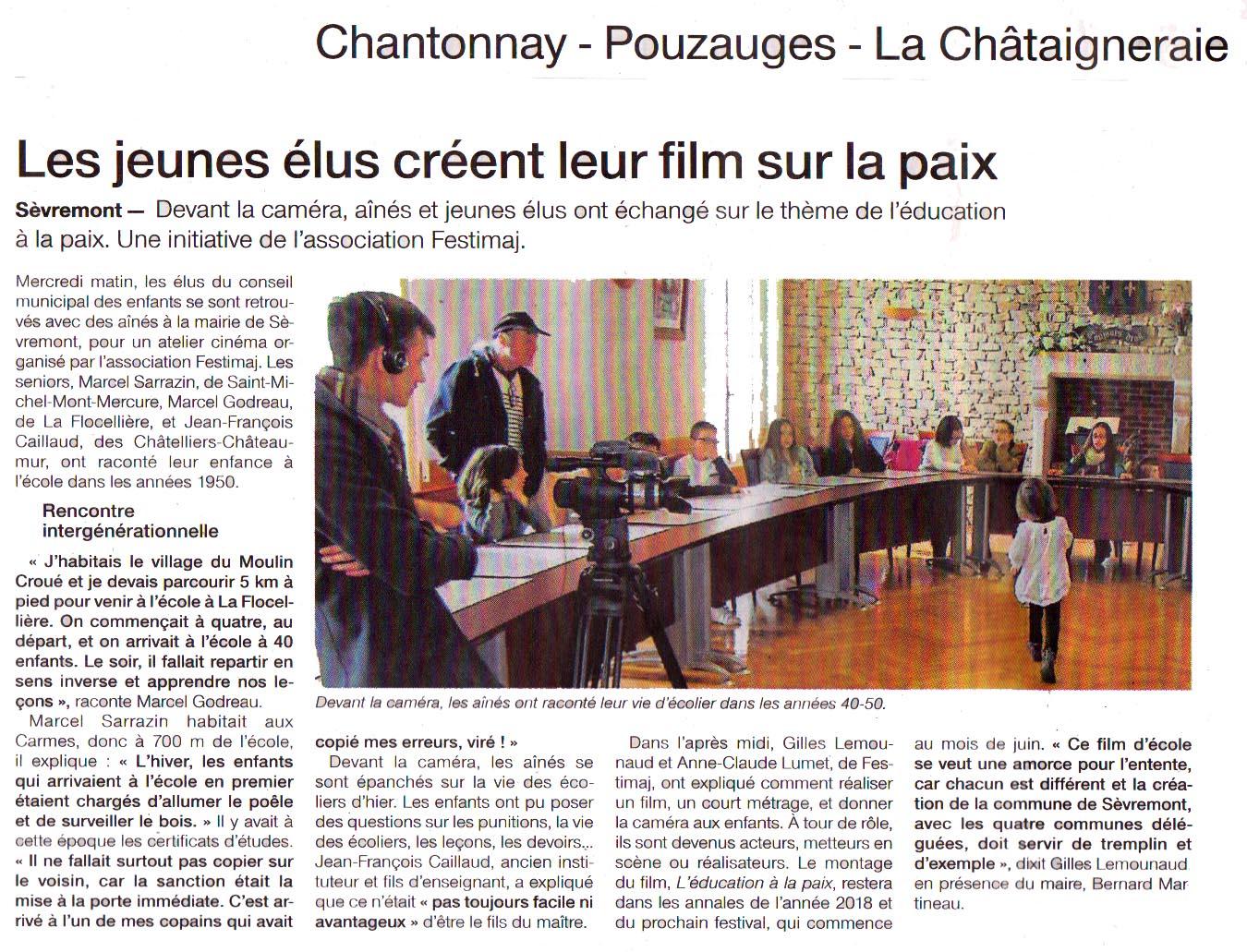 Ouest-France Le 3 Mai 2018 Les jeunes élus créent leur film sur la paix