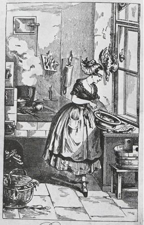 """Eine Dame die 1855 zumindest die Goldhaube stilgerecht trägt: Titelbild aus """"Das neue große geprüfte und bewährte Linzer Kochbuch"""", entnommen aus F. C. Lipp"""