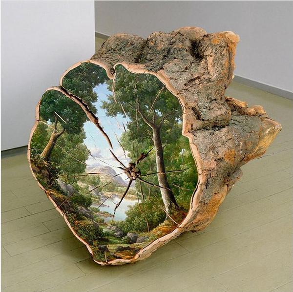 Ich war eine Dose CD Upcycling Recycling Do it yourself DIY nachhaltig Umweltschutz Baumstamm Gemälde Kunst Natur Landschaft Minimalismus zero waste