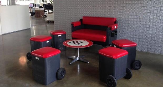 Ich war eine Dose Upcycling Recycling Do it yourself DIY nachhaltig Umweltschutz Mülltonne Sitzmöbel Couch Hocker Design Minimalismus zero waste