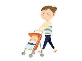 産後のダイエットを考えるならベビーカーの散歩も効果的です。Take a walk in a stroller