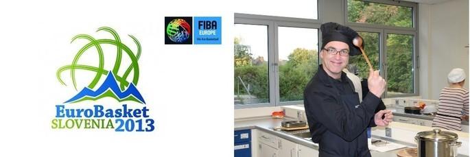 Das Basketball-Logo der EM 2013 und Tom Kleine mit Kochmütze