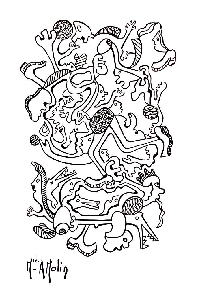 """""""Absurdie"""" - Marqueur peinture sur papier - format 29,7X21cm"""