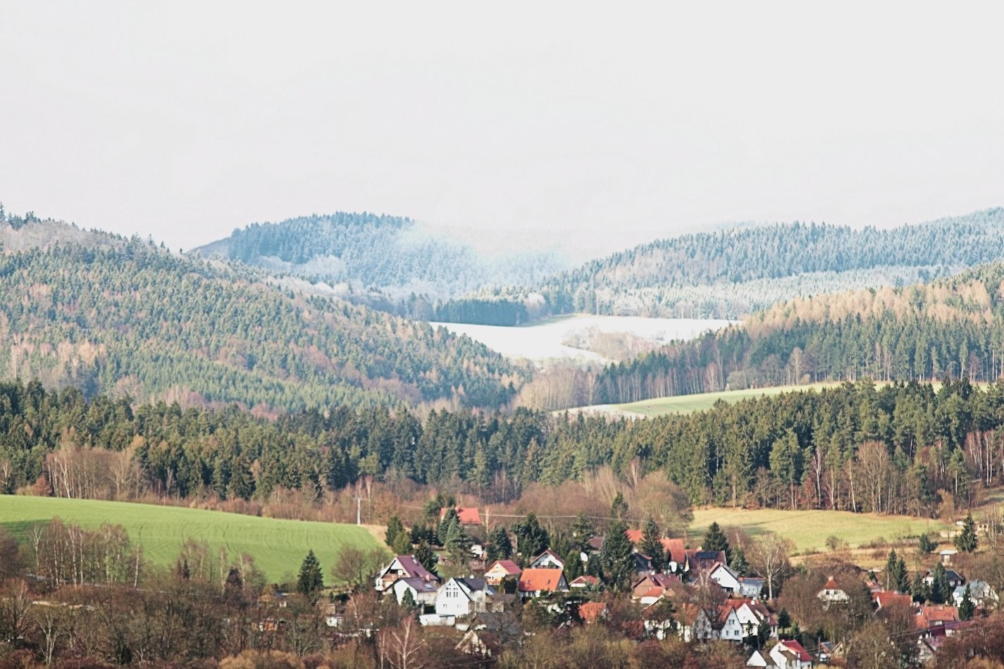 Blick zum Adlersberg - 850 müM, innerhalb weniger Minuten war dort alles weiß